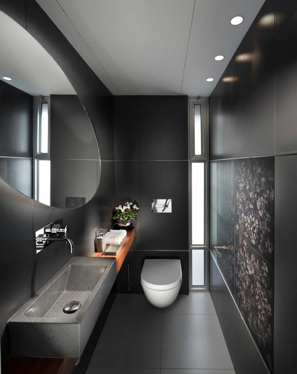 des teintes sombres pour une salle de bain moderne | design feria - Salle De Bain Moderne Grise