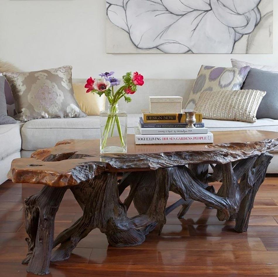 Table Basse En Bois Au Design Rustique Et Original Pour Un Sejour