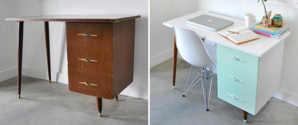 Inspiration d co pour redonner vie un vieux meuble for Repeindre un bureau