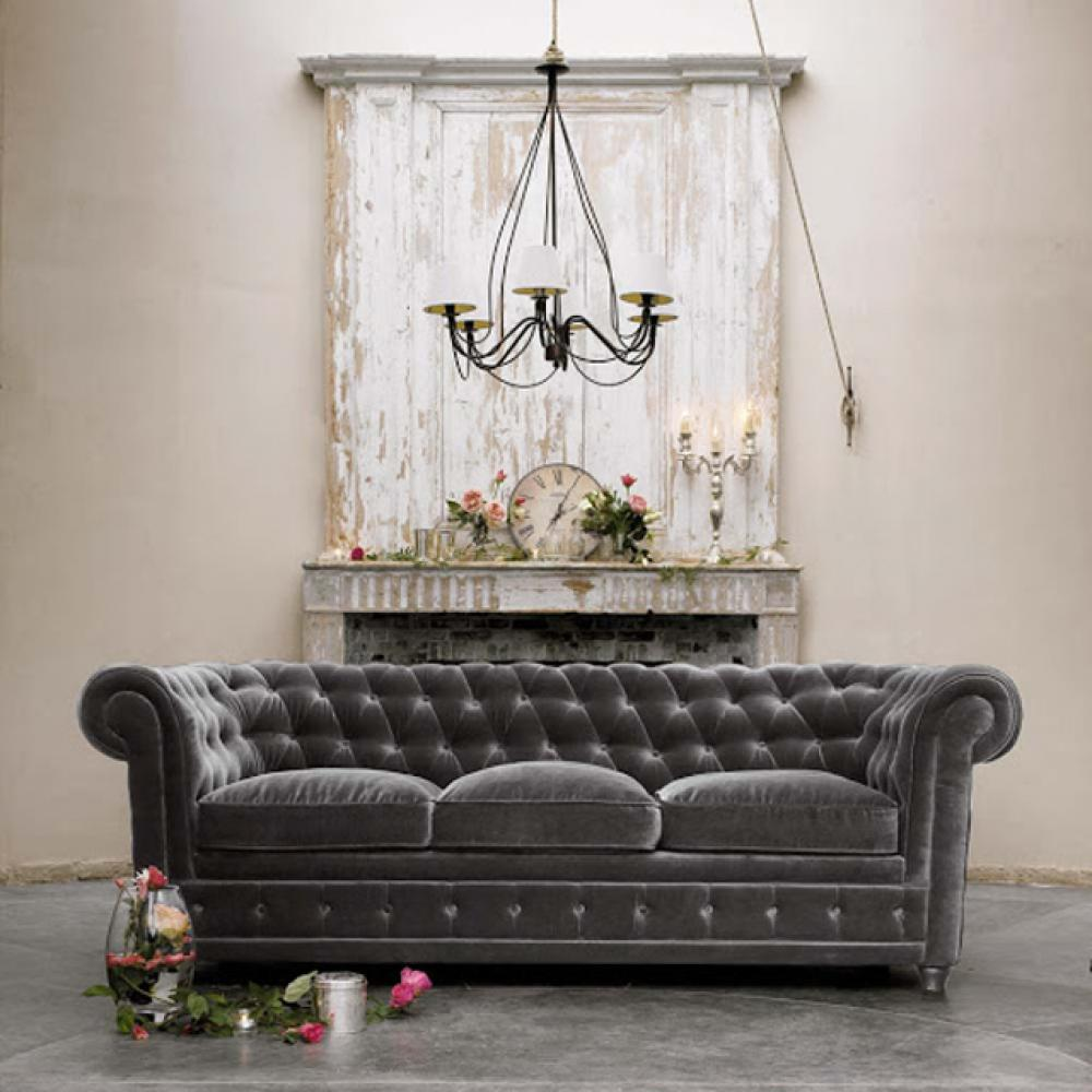 Le canap chesterfield une touche so british dans votre s jour design feria - Canape chesterfield gris ...