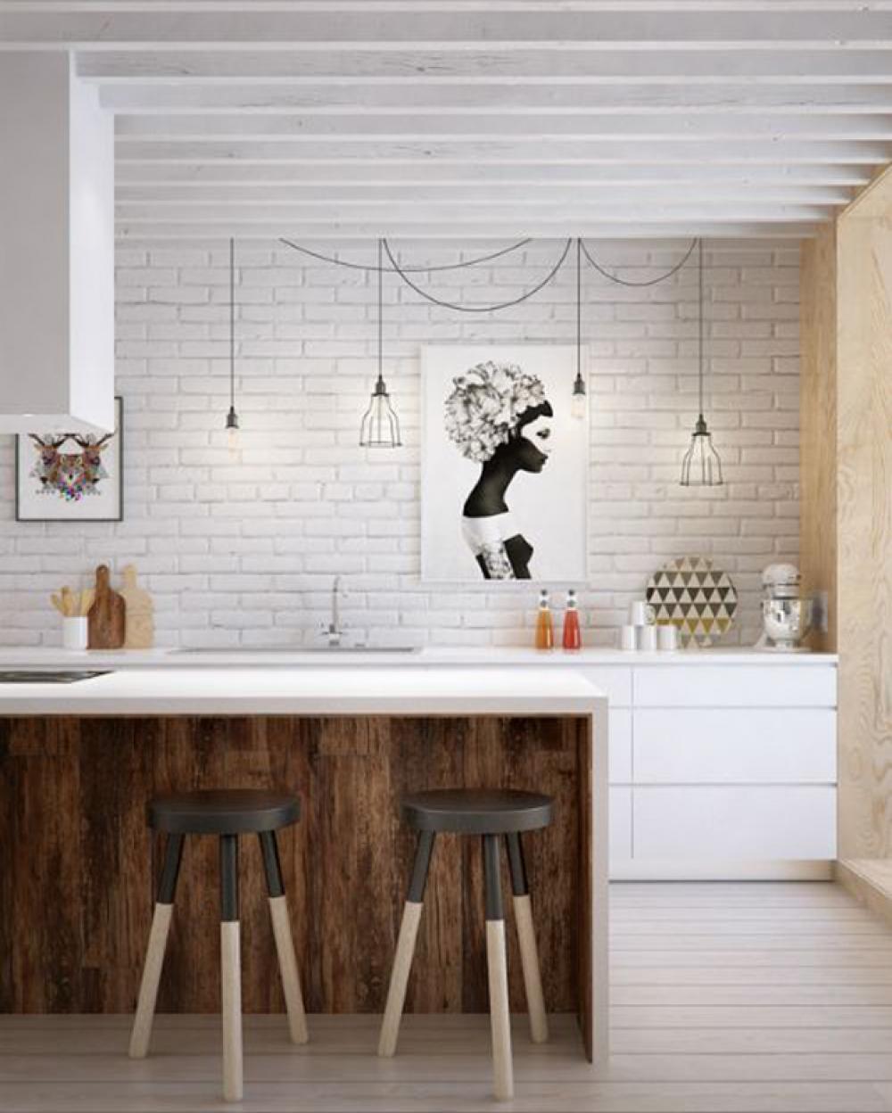 Idées déco pour une petite cuisine ouverte  Design Feria