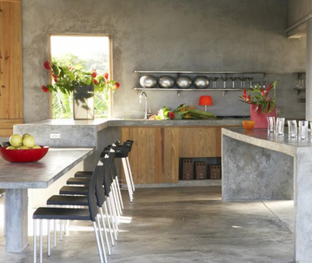 Ilot central en béton ou l'accent industriel dans notre cuisine ...