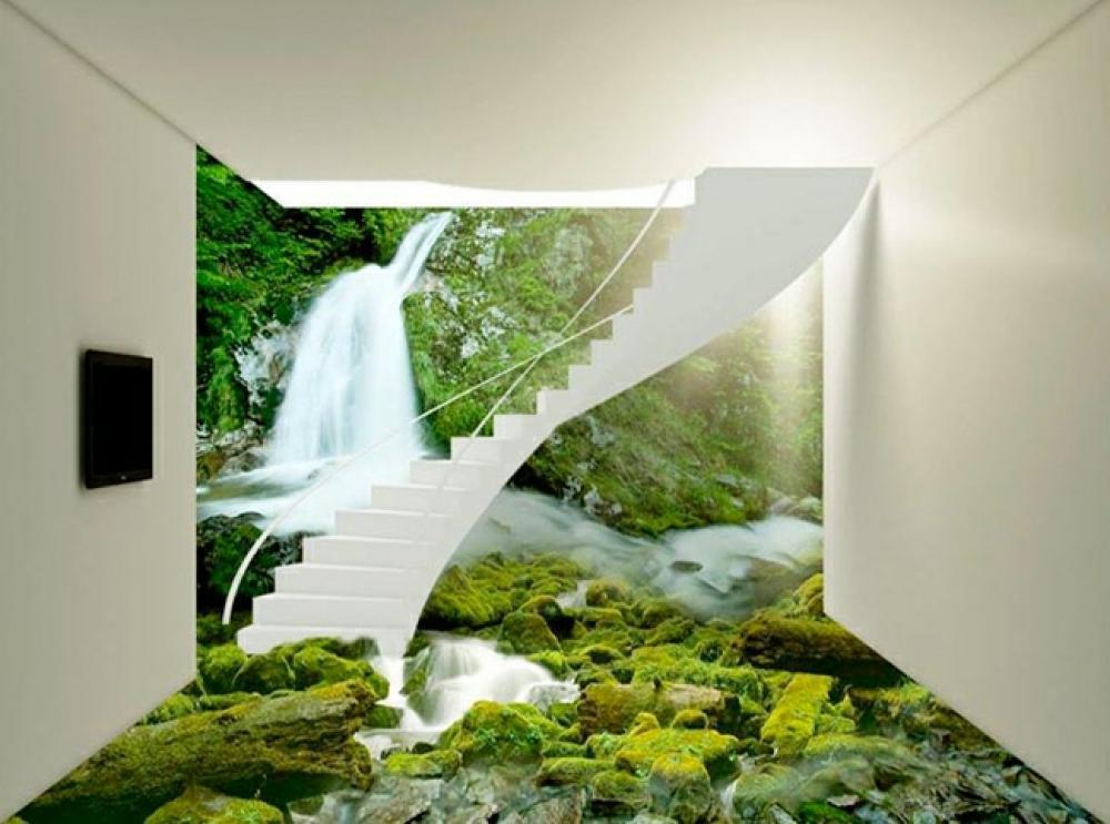escalier blanc et paysage de motagne