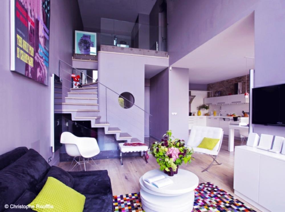 Deco salon violet et gris dcoration dun appartement pices - Decoration salon mauve et gris ...