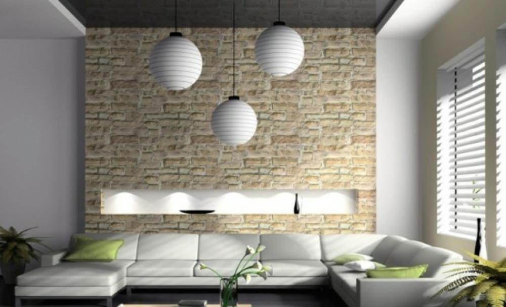 Séjour murs en briques apparentes