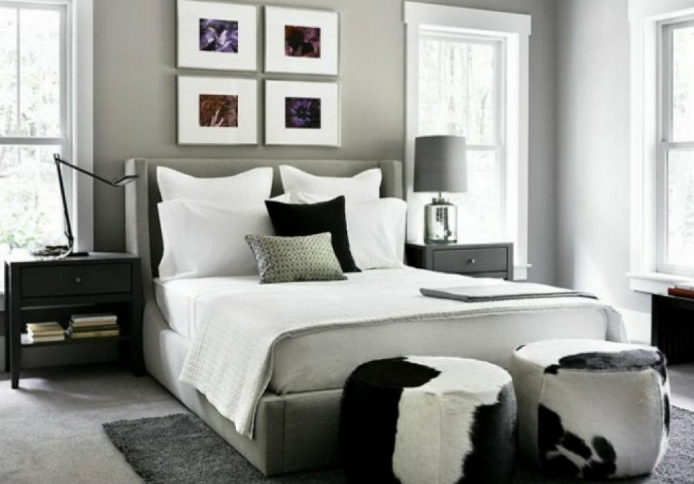 murs et ameublement chambre tout en gris tendance. Black Bedroom Furniture Sets. Home Design Ideas