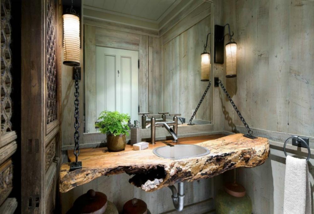 Beau Vasque Salle De Bain Originale #2: Ambiance Rustique Ameublement Salle De Bain Design Original
