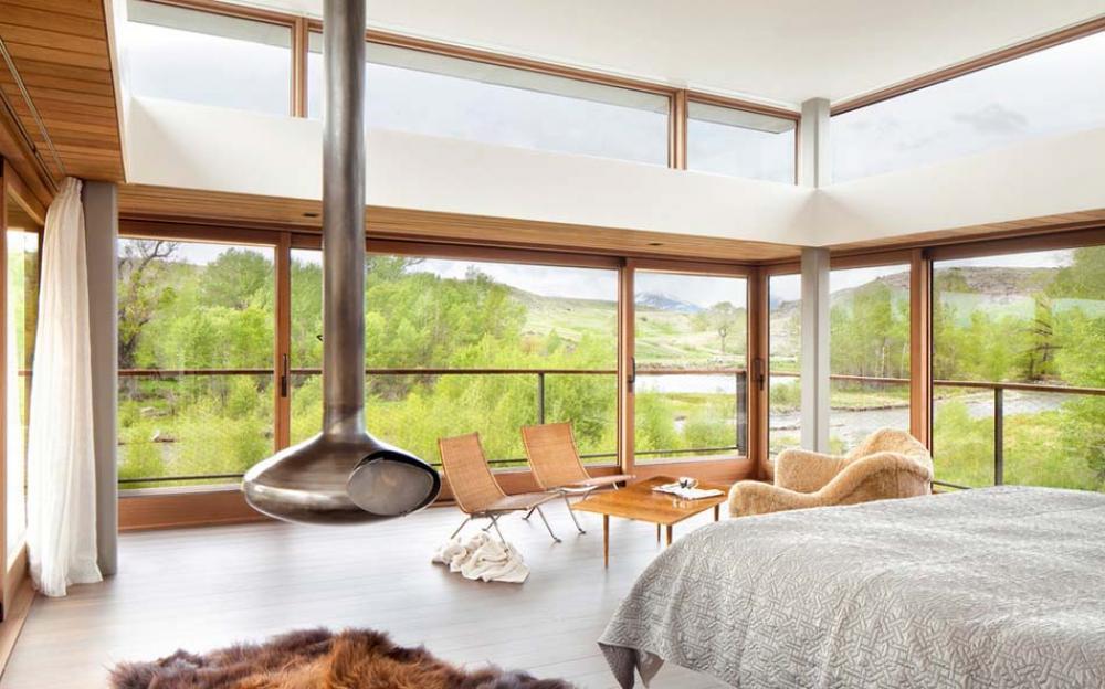 chambre avec cheminée moderne design original