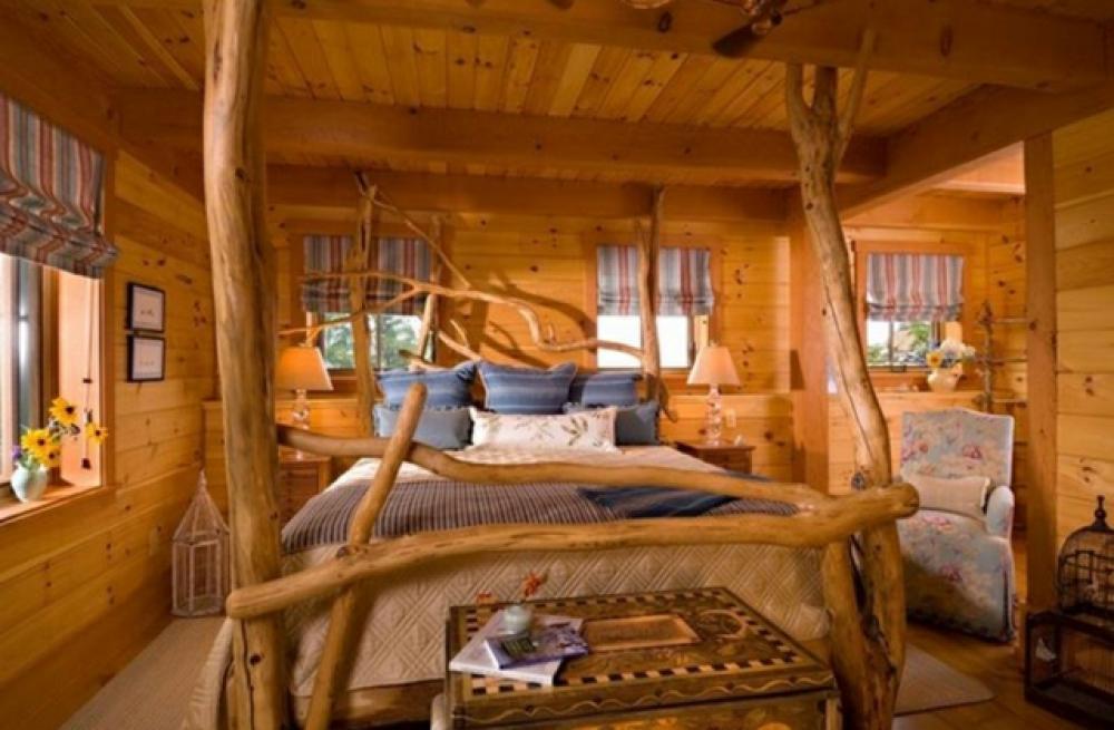 Deco intérieur bois Chambre-decor-lit-rustique