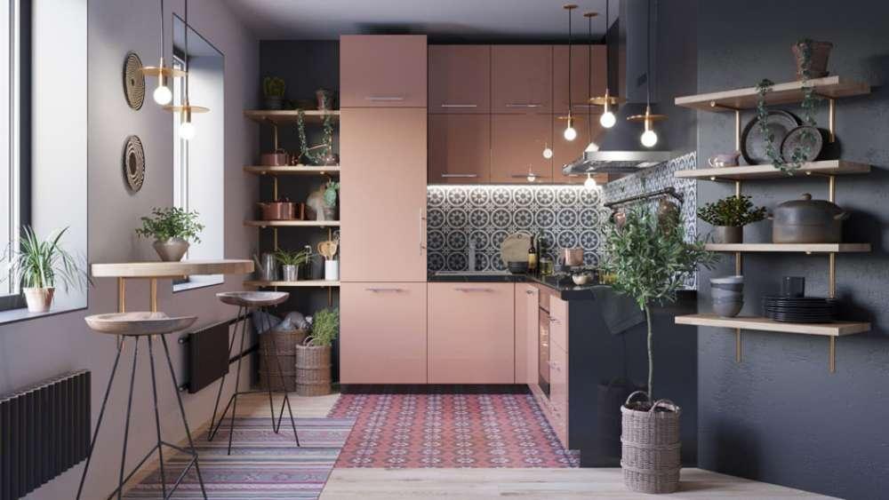 cuisine en L gris et rose bicolor