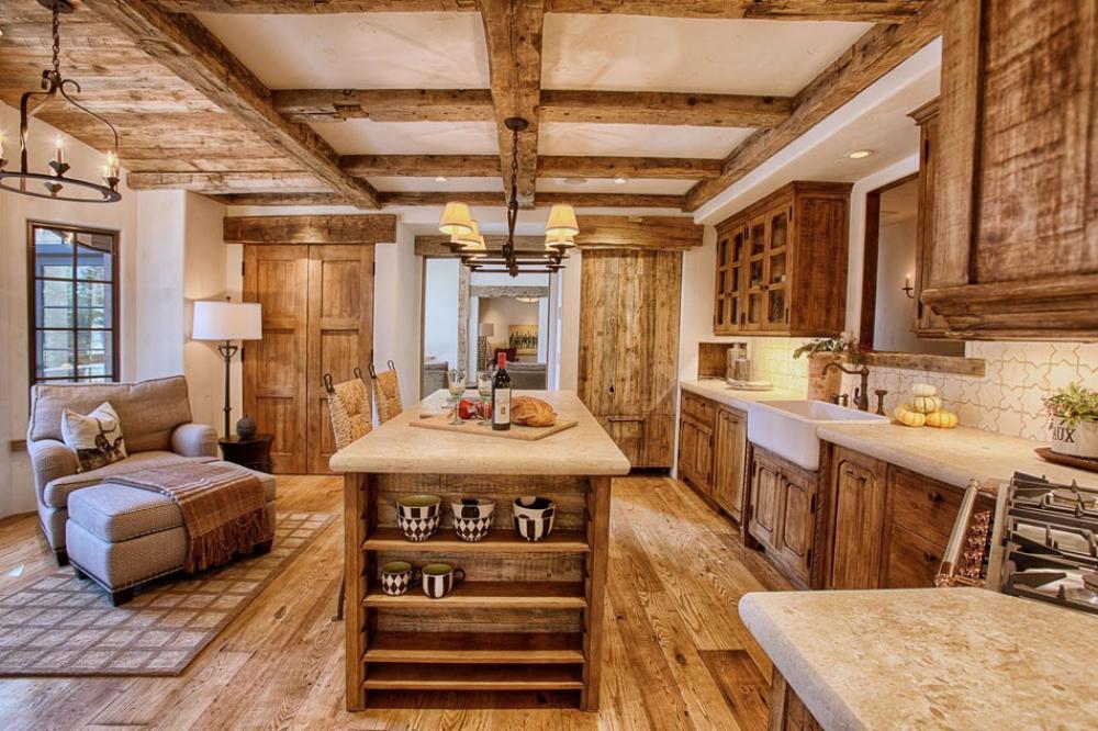 la cuisine rustique contemporaine au centre des r sidences de vacances design feria. Black Bedroom Furniture Sets. Home Design Ideas