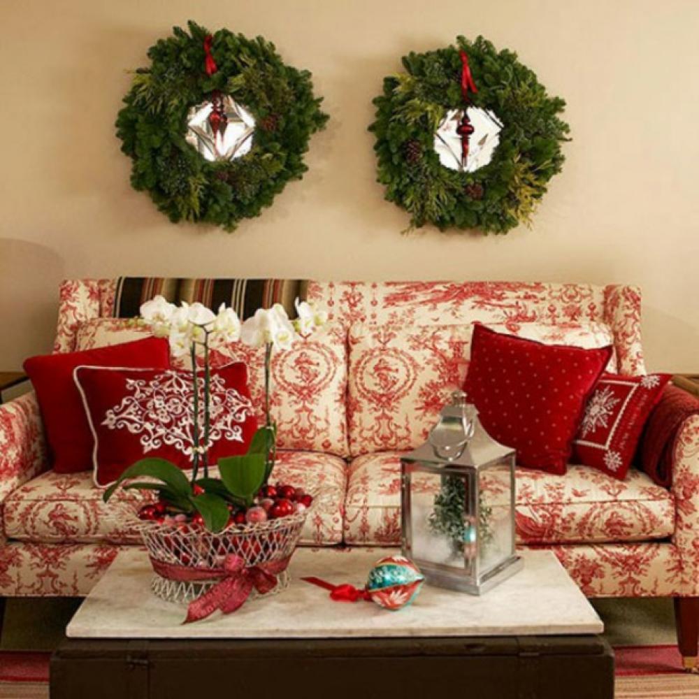 Image De Decoration De Noel.Decoration De Noel Pour Un Interieur En Rouge Design Feria