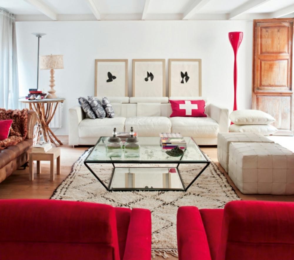 Séjour à La Déco Moderne Rouge