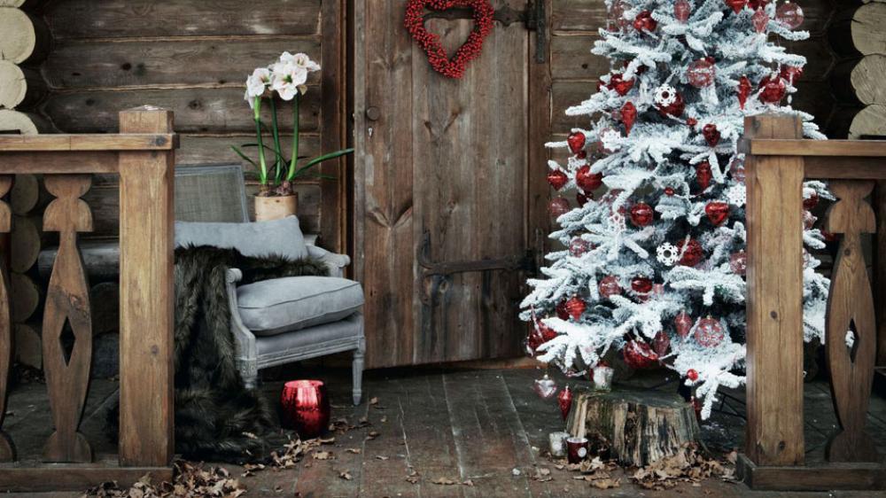 porche maison rustique déco pour Noël