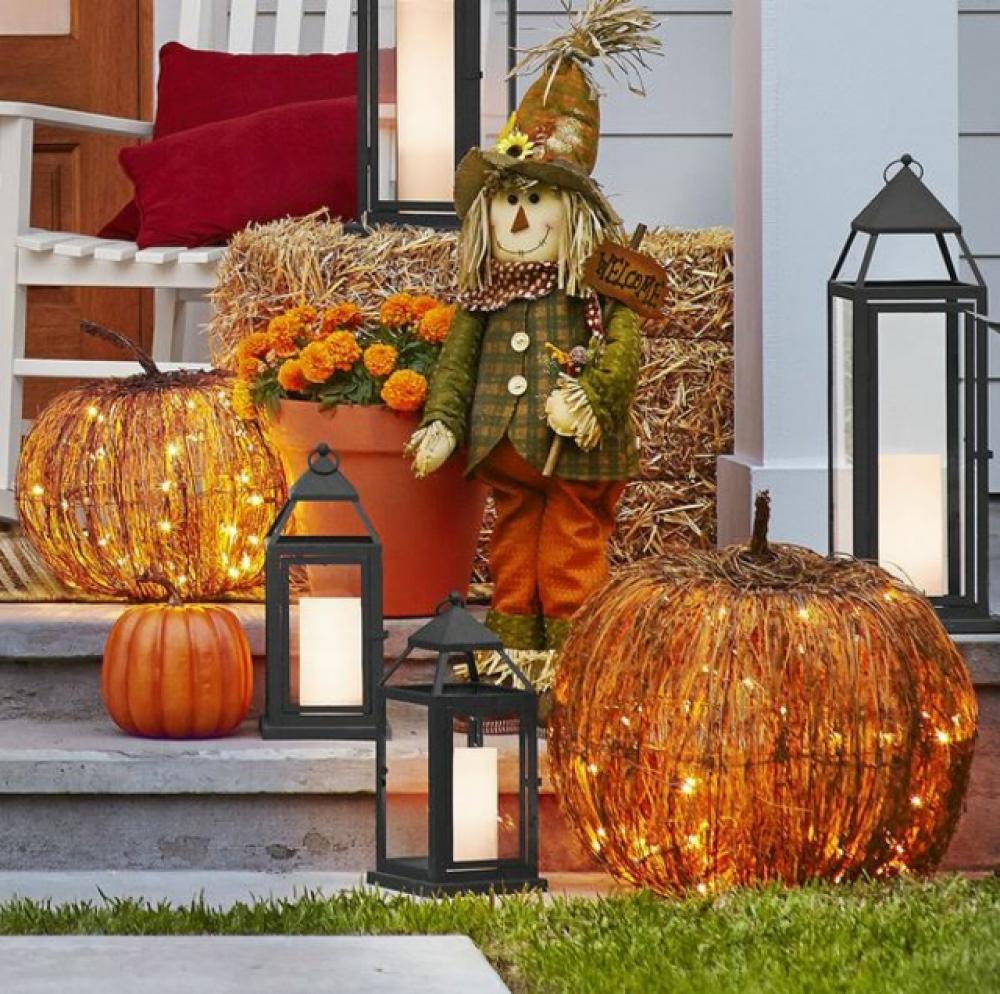 décoration porte d\u0027entrée maison outdoor halloween citrouilles