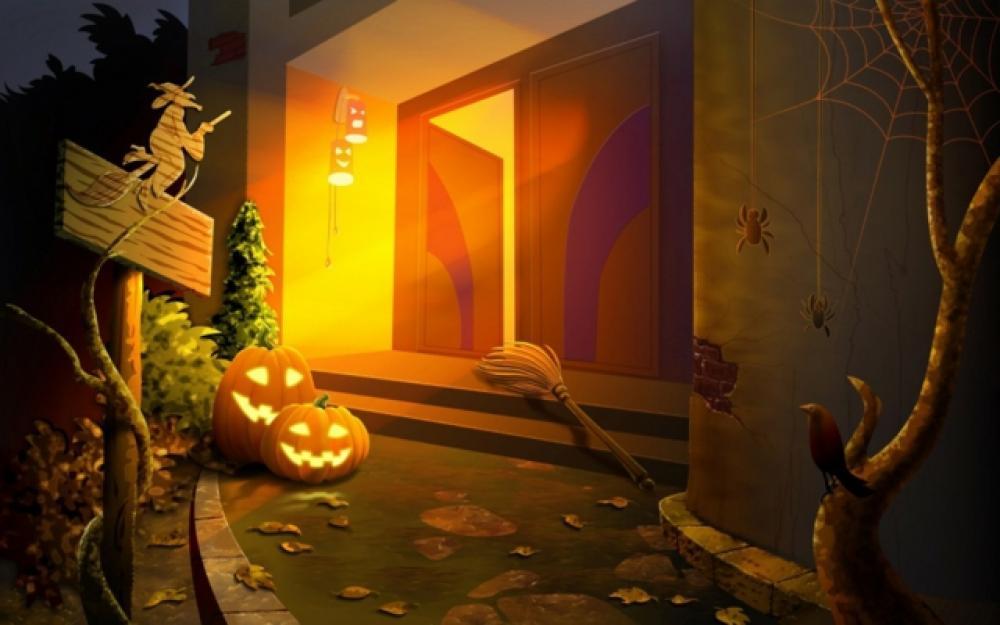 La Terrifiante Décoration Halloween Pour La Porte D'entrée Design Feria