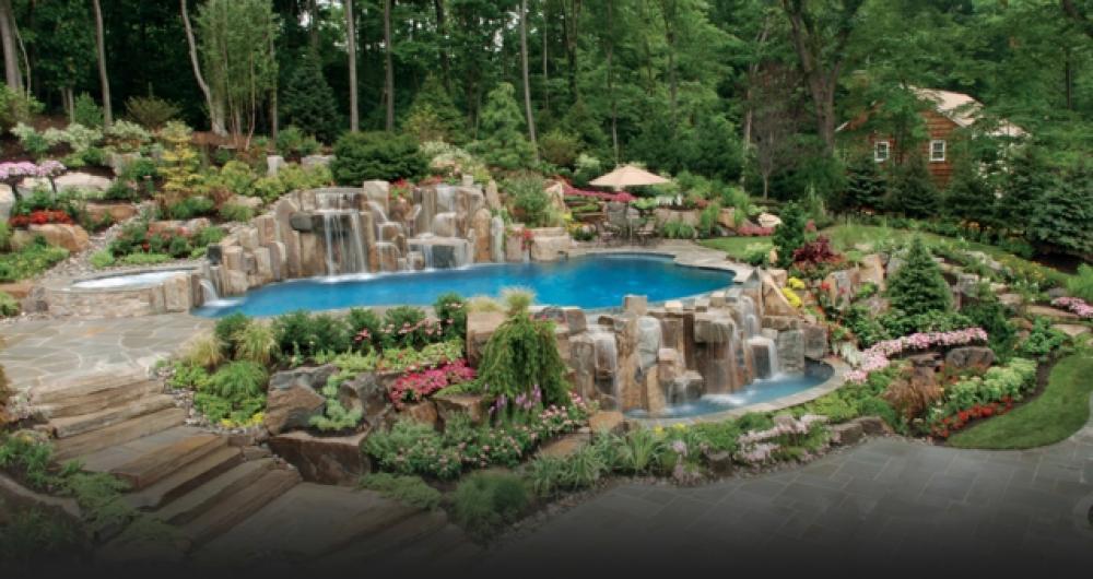 paysage jardin piscine lac artificiel