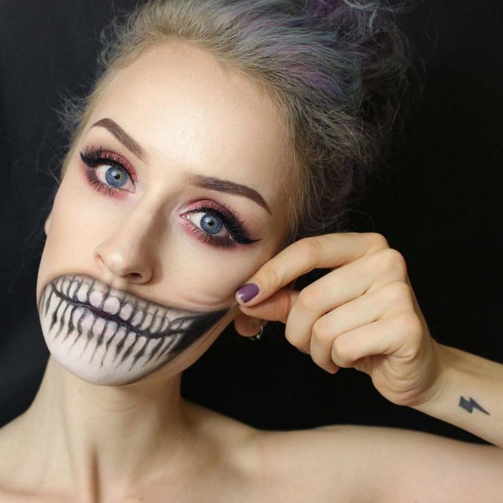 maquillage halloween discret bouche femme visage