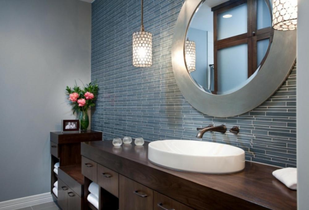 Miroir contemporain salle de bain - Miroir suspendu salle de bain ...