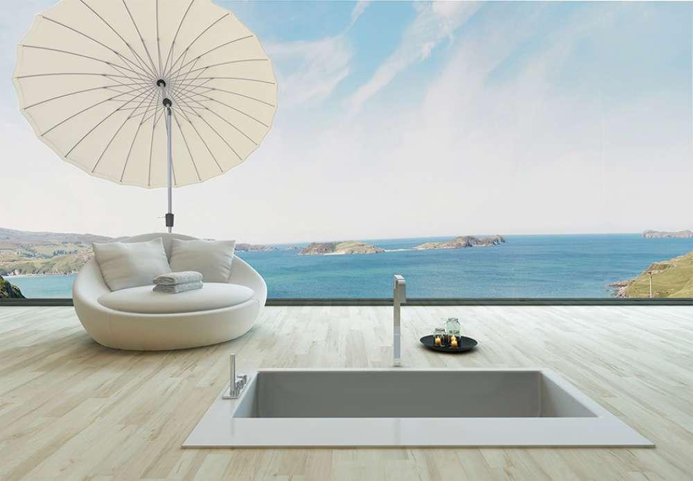 ameublement de terrasse de luxe parasol rond droit