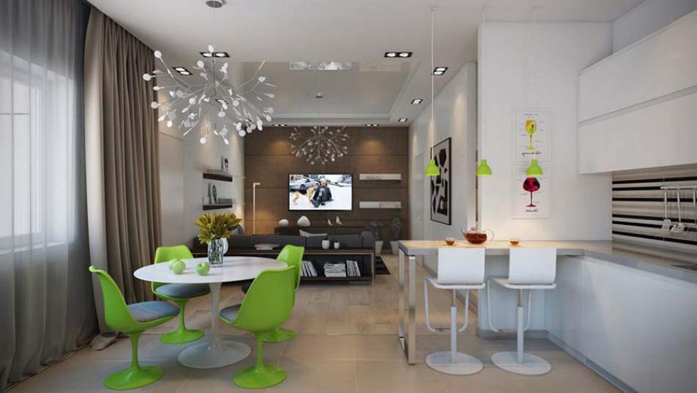 ... moderne et sa pièce de vie principale avec la salle à manger design