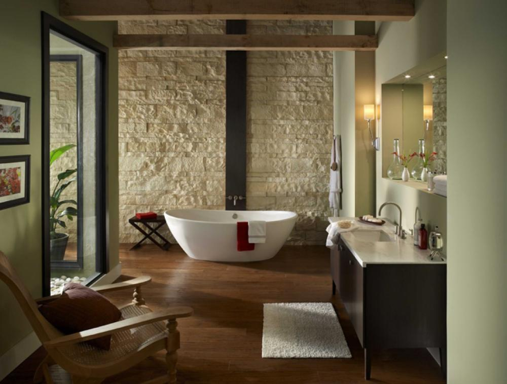 salle de bain rustique gr ce au mur en pierre cr atif. Black Bedroom Furniture Sets. Home Design Ideas