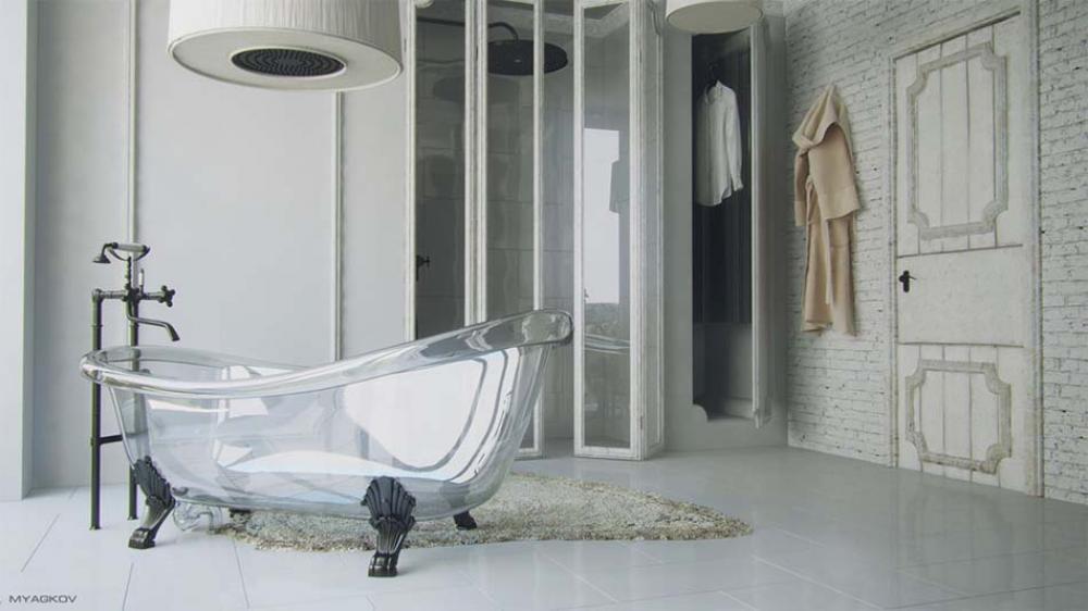 Salle de bain moderne tendance inspir e par le design for Photo salle de bain moderne