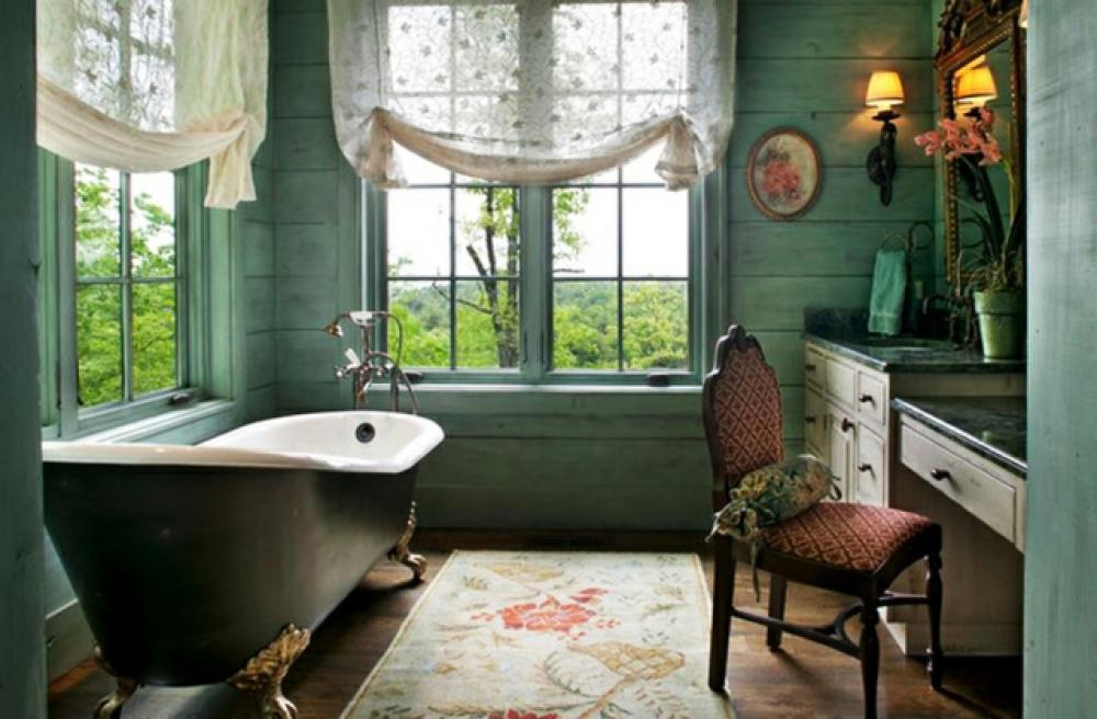 D co reposante et tendance en vert pour la salle de bain for Deco salle de bain rustique