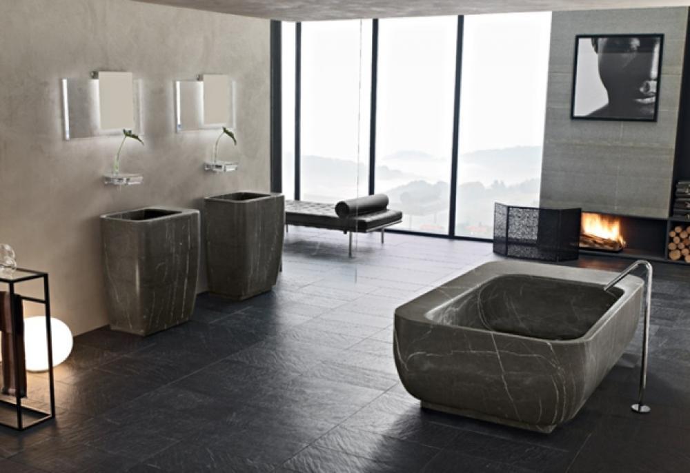 Salle de bain en marbre qui nous fait r ver design feria for Salle de bain ultra design