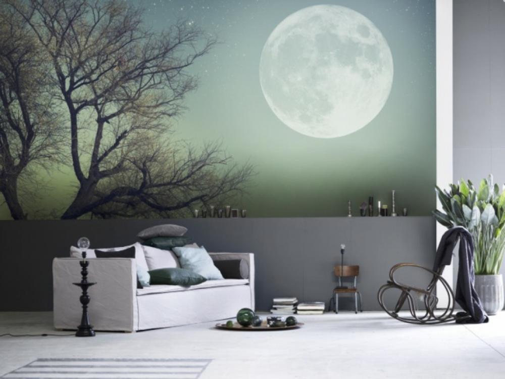 Captivant Stickers Muraux Nuit Pleine Lune Séjour Déco