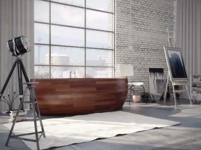 baignoire design rond bois salle de bain luxe