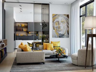 idées déco en jaune séjour maison moderne