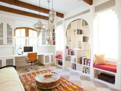 salon moderne décoré à  l'orientale