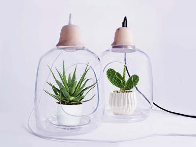 original lampe de chevet déco maison pots de fleurs