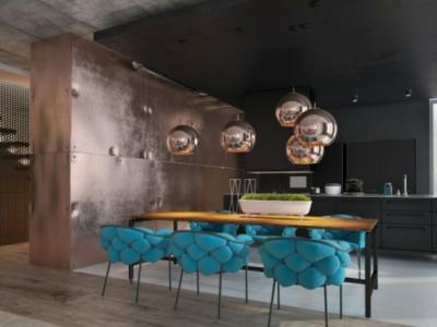 intérieur appartement moderne couleurs sombres