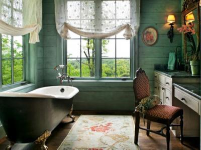 Déco originale de salle de bains en vert