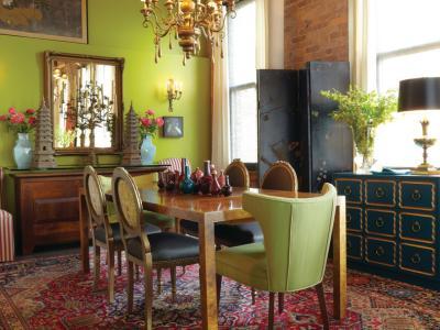 Jolie décoration d'intérieur dans des couleurs citron vert