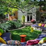 jardin et banc design pour recevoir dehors