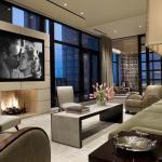 aménagement design séjour cheminée