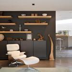 étagères en bois salon moderne bibliothèque ouverte
