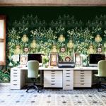 Bureau au papier peint design créatif