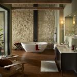 ambiance rustique mur en pierre salle de bains