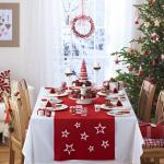 belle table de Noël décoration blanc et rouge