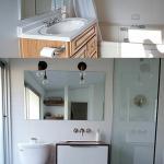 vue générale de la salle de bain avant et après