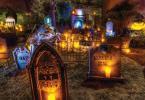 Décoration macabre tombes bougies idées Halloween