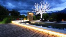 Le jardin illuminé par différents spots