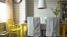 salle à manger design touches jaunes