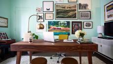 Ambiance douce et sereine dans ce bureau de maison
