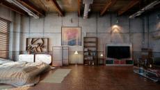 Chambre à coucher design industriel