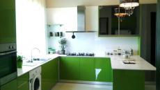 cuisine aux placards verts et blancs